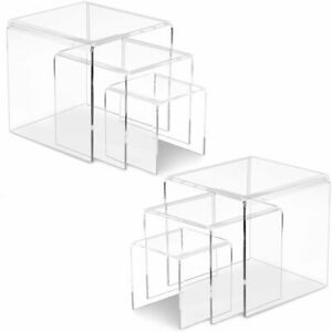2 Sets Acrylic Riser Display Shelf Set (3 Sizes per Set) Crystal Clear Stands