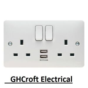 Hager WMSS82USB 'Sollysta' Switch Socket Outlet 13 Amp with 2 x USB Sockets