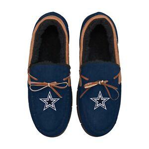 Dallas Cowboys Team Color NFL Men's Corduroy Moccasins Slippers FREE SHIP