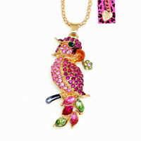 Women's Crystal Parrot Bird Bite Flower Pendant Chain Betsey Johnson Necklace