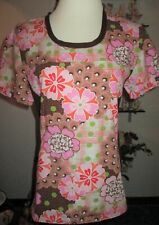 Cherokee Women's Size M Brown & Pink Fun Flowers With Stretch Sides Scrub Top