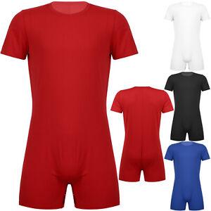 Men's One Piece Sleeveless Bodysuit Press Button Crotch Shirt Leotards Jumpsuit