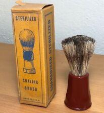 NOS Vintage Shaving Brush 20mm Badger Knot, Ruby Bakelite Handle, Original Box