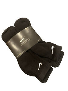 Nike Everyday Black Cushioned Ankle Training Socks Dri-Fit 6 pairs size L 8-12