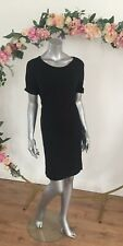 Mark And Spencer T Shirt Wiggle Dress Black Stretch Midi Size 14 EA97