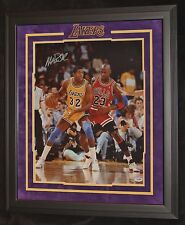 MAGIC JOHNSON VS JORDAN MATTED AND FRAMED SIGNED PHOTO PSA/DNA AUTHENTICATED