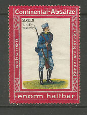 CONTINENTAL-ABSATZE advertising stamp (Serbian WWI Infantryman) (German text)