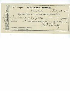 PAY CHECK SAVAGE MINE  1874   VIRGINIA CITY NEVADA    EF