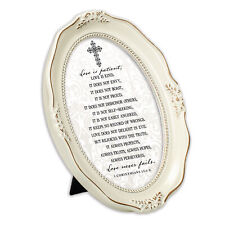 Love Never Fails Inspirational Distressed Ivory Wavy 5x7 Oval Photo Frame