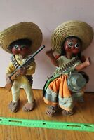 Pair Vintage Mexican Handmade Paper Mache Dolls Folk Art Hunter Man & Woman baby