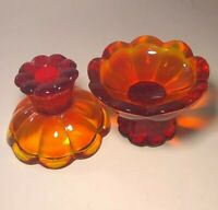 2 Vintage Candle Holders Amberina Glass Orange & Yellow Mid Century Modern 4""