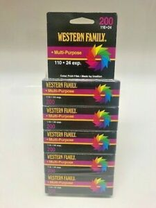 Lot of 5 Sealed Western Family 200 110 24 exp Color Print Film Expired NOV00 NOS