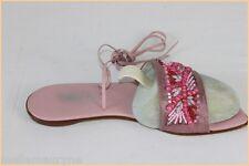 ELIZABETH STUART Sandales Cuir Rose Motifs Perlés T 39 TBE