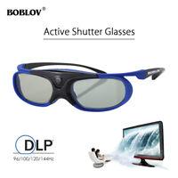 BOBLOV JX-30 3D Active Shutter Glasses DLP-Link Blue For Optoma BenQ Acer Sharp