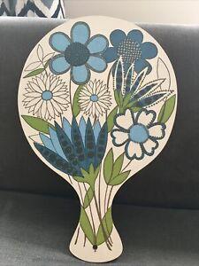 VTG retro 70s Blue floral paddle chopping cutting board melamine campervan