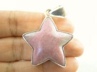 Pink Grey Rhodonite Star 925 Sterling Silver Pendant