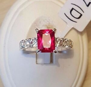 Beautiful 925 sterling silver Lab created Cocktail Ruby ring with Cubic Zirconia