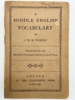 A Middle English Vocabulary 1ST EDITION - J. R. R. TOLKIEN - 1922