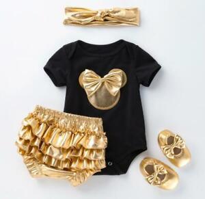 Newborn Infant Baby Girls Headband+Romper+Leg Warmers+Shoes Minnie Clothing Set