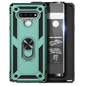 For LG Stylo 6 Phone Case Metal Ring Kickstand Cover + Tempered Glass Protector