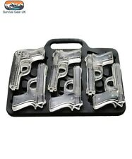 Novelty Gun Ice Cube Tray Pistol Shaped 6 Cubes Weapon Chocolate Silicone Mould
