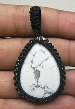54 CT MACRAME NECKLACE PENDENT WHITE HOWLITE COTTON WAXED CORD HANDMADE M - 204