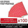 """Red Warning Sticker Adhesive Label """"Do Not Open with Sharp Objects"""" - 100pcs"""