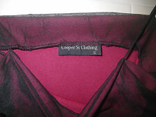 Black Maroon Sheer Stretch Net Ruched Sides Fitted Top Designer Cooper St 8 10 S