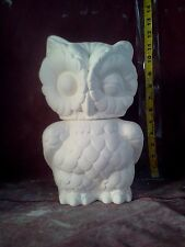 "Owl Canister 10"" x 7"" x 9 1/2"" ceramic bisque, ready to paint, glazed inside"