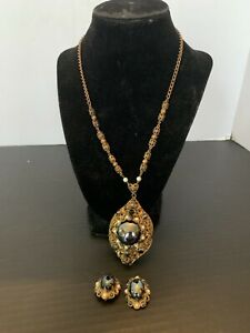 Vintage West Germany Filigree Rhinestone and Faux Pearls Necklace & Earring Set