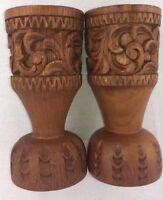 Vtg Boho Mid-Century Teak Wood Hand Carved Candleholders Thailand Tiki Pillar W