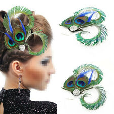 Vintage Peacock Feather Fascinator Hair Clip Wedding Gatsby Party Headpiece Gift