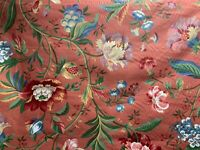Jay Yang Fabric Burgundy Red Green Floral Cotton Drapery Upholstery 1 Yard