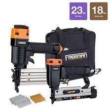 18 Gauge Brad Nailer Gun & 23 Ga Micro Pin Pinner Air Compressor Tools Combo Kit