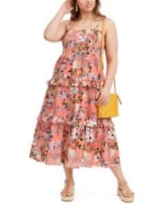 MSRP $120 Inc Plus Size Cotton Tiered Floral-Print Maxi Dress, Size 1X
