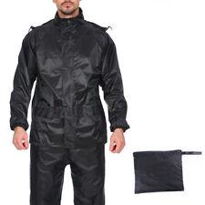 Adults Mens Waterproof Jacket & Trousers Motorcycle Set Rain Suit Hooded 2 Piece