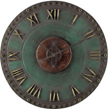 Large Rustic Industrial Outdoor Wall Clock, Antique Green Metal, Roman Numerals