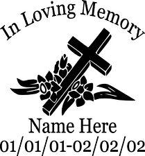In Loving Memory Cross Flowers Custom Vinyl Decal Sticker Car Truck Home Window