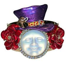 NEW KIRKS FOLLY MAD HATTER RED ROSE SEAVIEW MOON CUFF BRACELET GOLDTONE