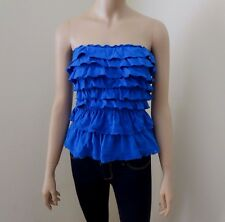 NEW Abercrombie Womens Strapless Tube Top Size XS Ruffles Lace Blue Shirt Blouse