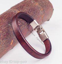 Simply Cool Single Band Plain Leather Bracelet Wristband Men's Cuff COFFEE BROWN