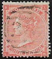 1862 QV SG79 4d Bright Red LB Very Fine Used CV £170