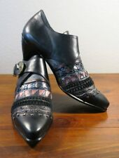 Serena d'Italia Black Italian Leather Ankle Cowboy Boots Shoes Size Women's 39.5