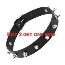 Leather Spike Rivet Stud Collar Choker Necklace - Punk Gothic