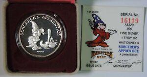 1987 Sorcerer's Apprentice Mickey Mouse Disney .999 1oz Silver Round w/ COA