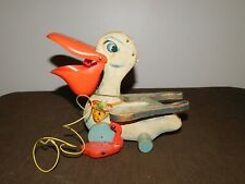 Vintage 1960S Toy Fisher Price Pull String Wood Pelican Mouth Opens When Pulled