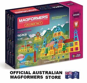 Genuine MAGFORMERS Village Set 110 pcs - 3D Magnetic building construction