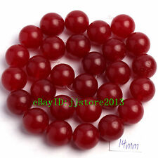 14mm Smooth Natural Red Jade Round Shape DIY Gemstone Loose Beads Strand 15""