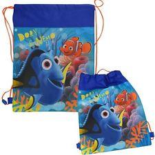 Sling Bag Tote Drawstring Non-Woven Disney Finding Dory Nemo Blue Girl Boy NEW