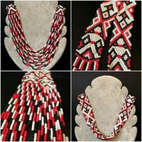 Vintage Art Deco 1920s Flapper Beaded Necklace Red Black White Tribal Ethnic VTG
